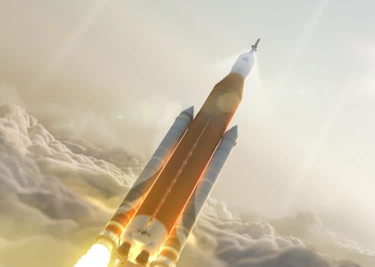 So könnte die SLS Rakete aussehen, Quelle: NASA